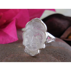 Hand Carved Moonstone Sterling Silver Buddha Ring – Size 8.50