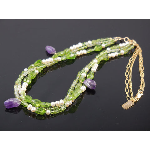 Gold-Filled Peridot, Amethyst, Pearl Necklace