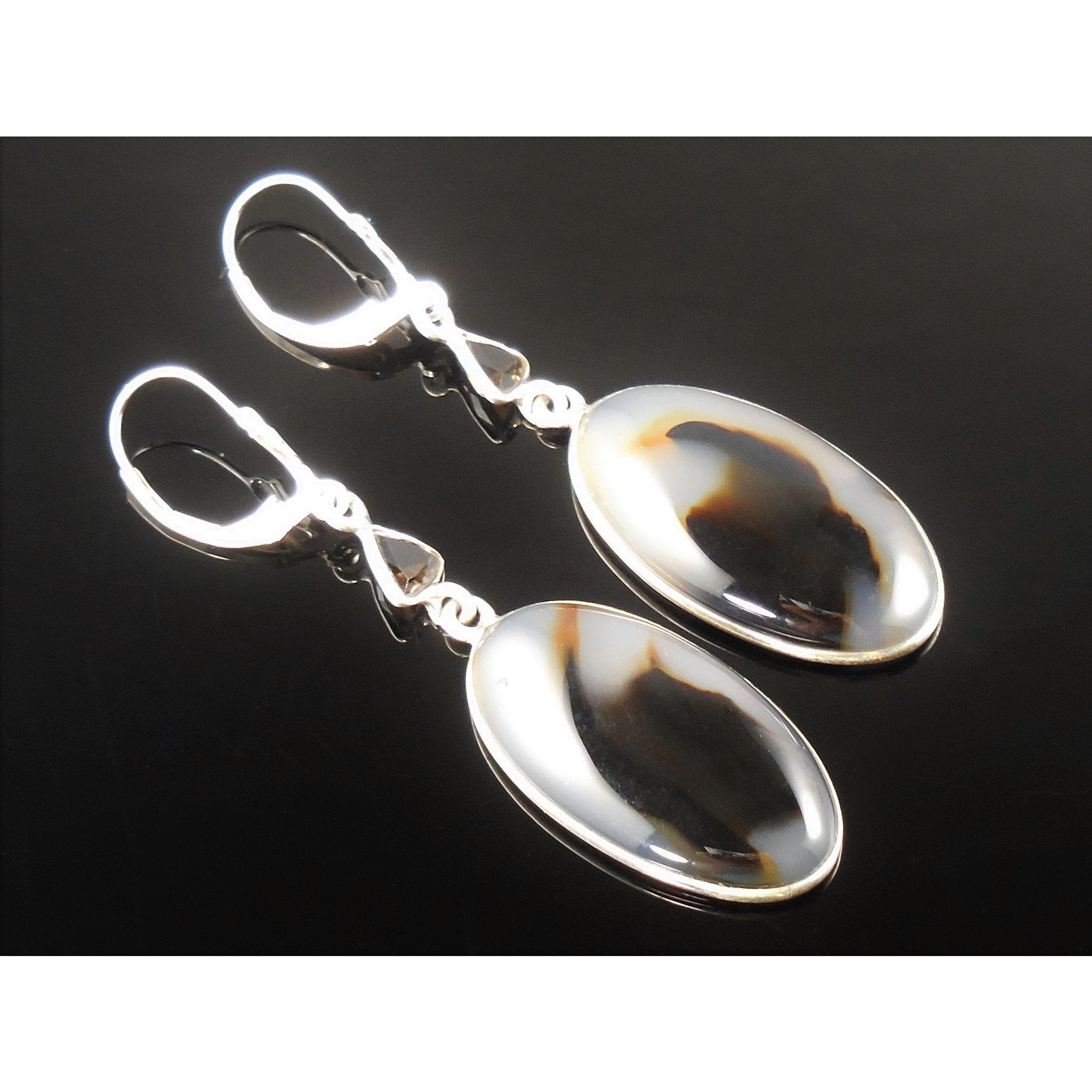 Montana Agate & Smoky Topaz Sterling Silver Earrings