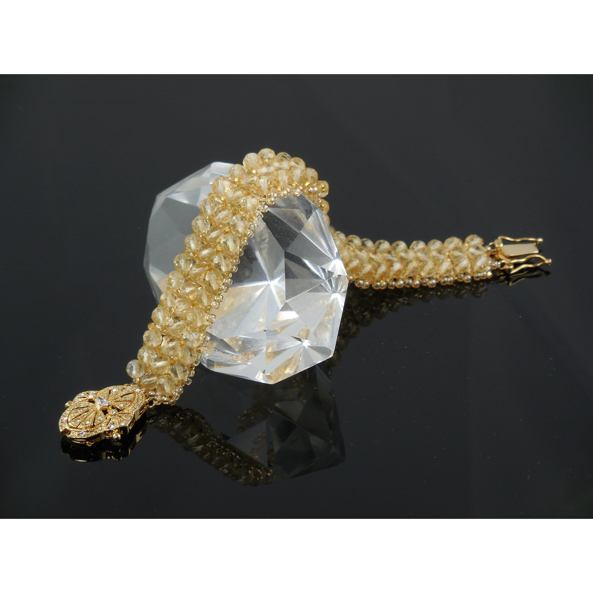 Handwoven Citrine Gemstone 3-Row Bracelet