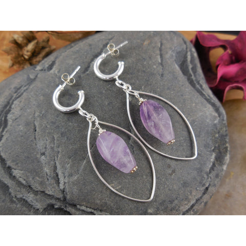 Sterling Silver Amethyst Gemstone Earrings