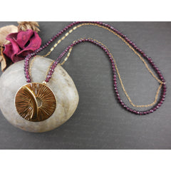 Gold-Filled Garnet Necklace with Chain