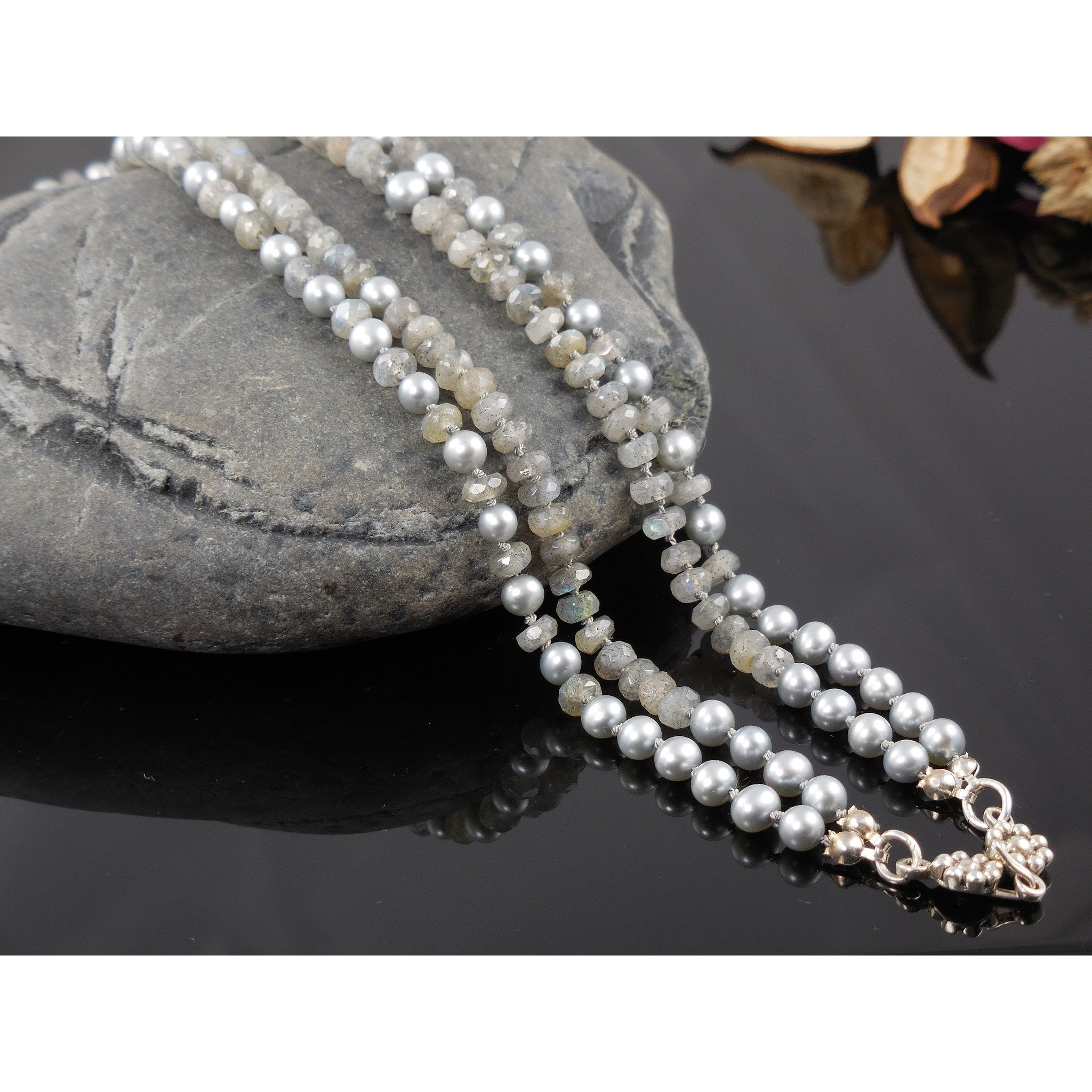 Sterling Silver Labradorite & Pearl Double-Strand Necklace