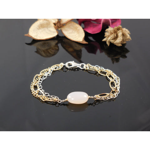 Gold-Filled and Sterling Pink Chalcedony Agate Chain Bracelet