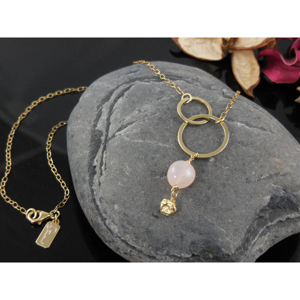 Gold-Filled Pink Chalcedony Chain Necklace