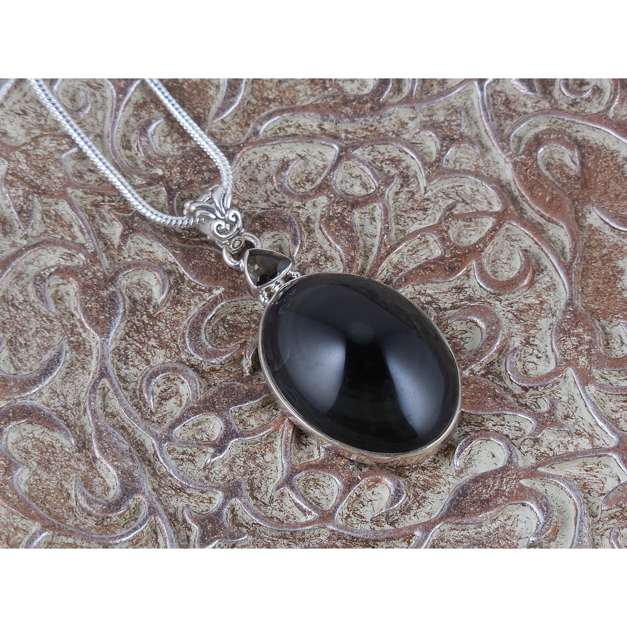 Obsidian Eye & Smoky Topaz Sterling Silver Pendant/Necklace