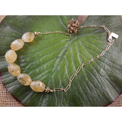 Gold-Filled Citrine Nugget Gemstone Chain Necklace