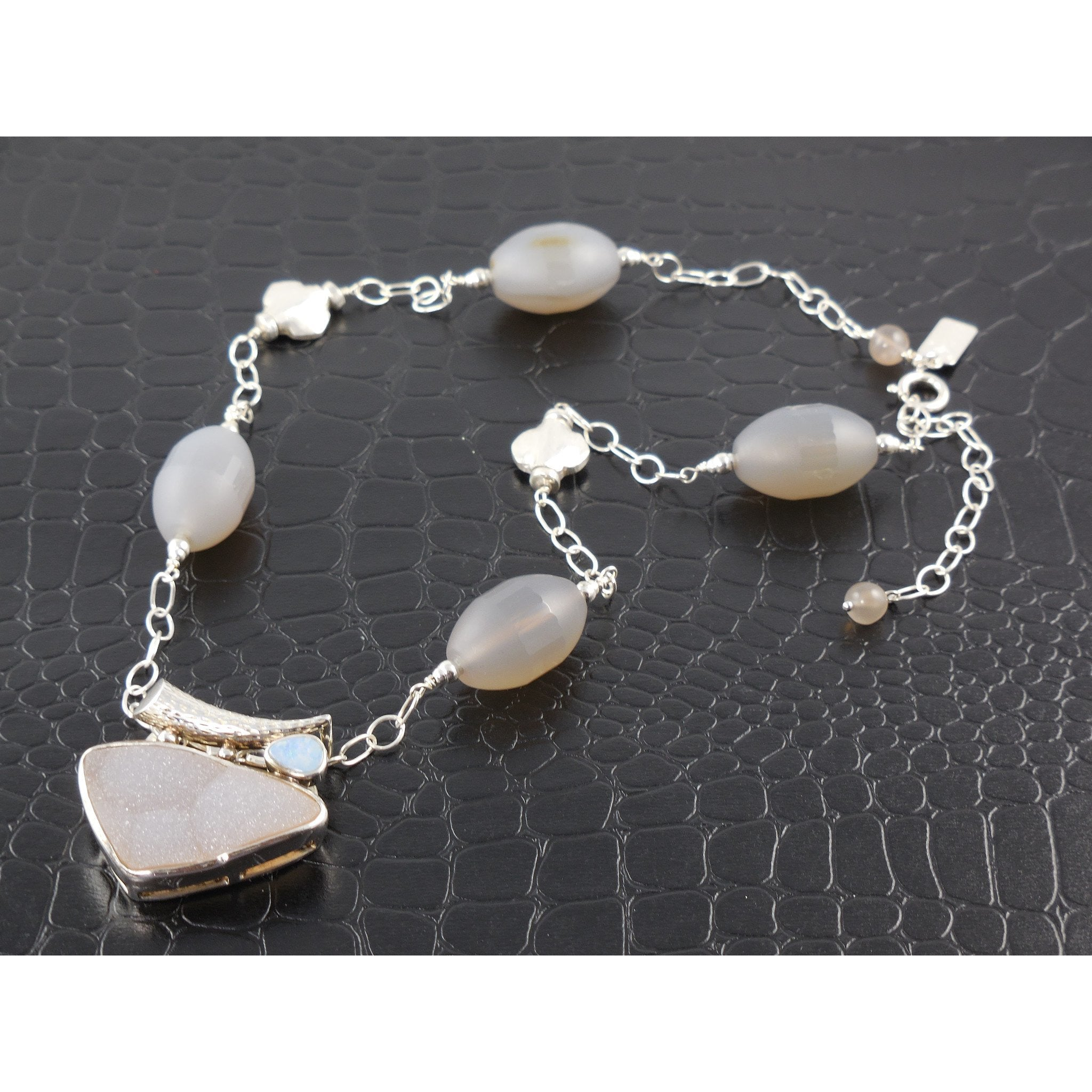 Sterling Silver Agate with Drusy Pendant Necklace
