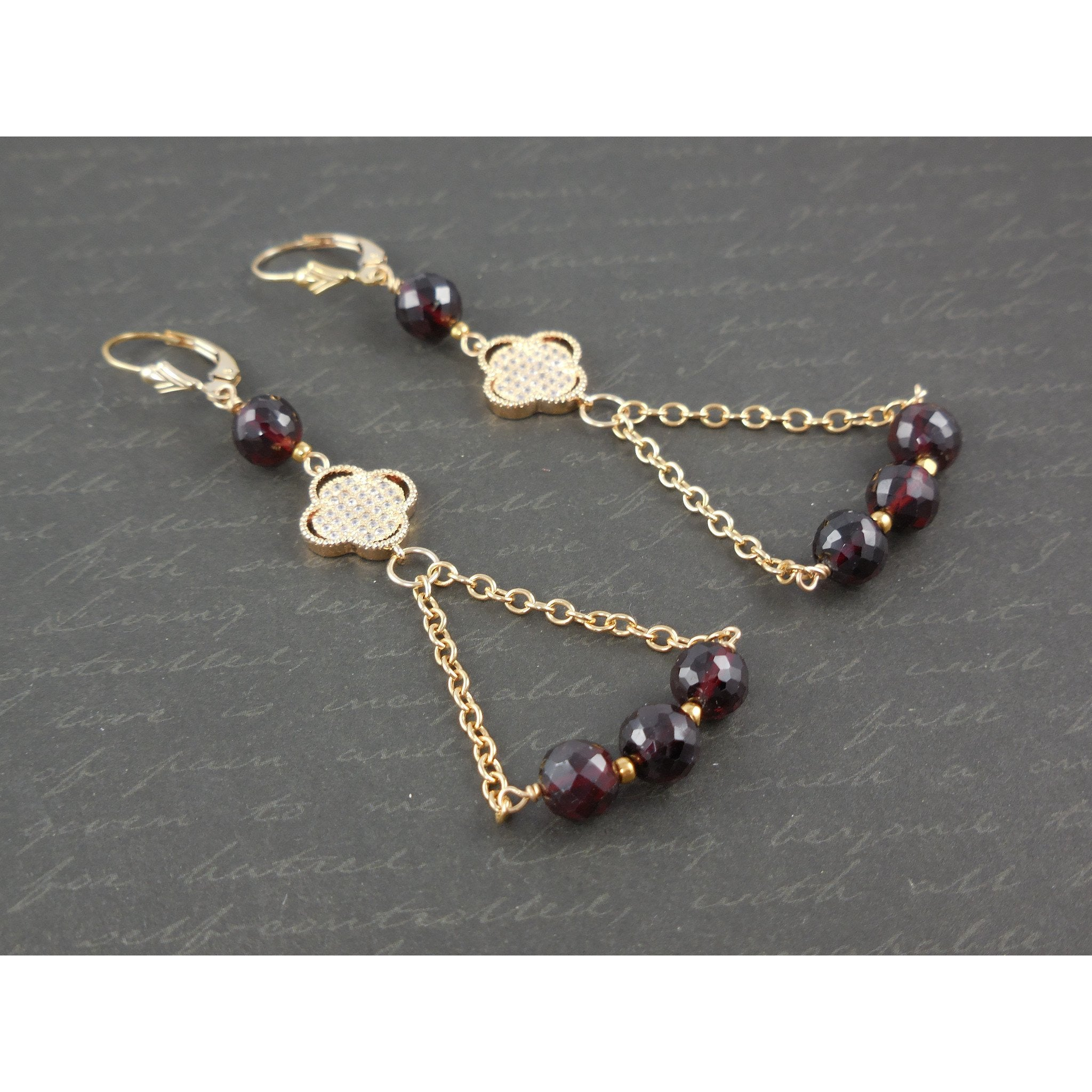 Gold-Filled Garnet Earrings