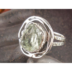 Green Amethyst (Rough) Sterling Silver Ring - Size 8.5