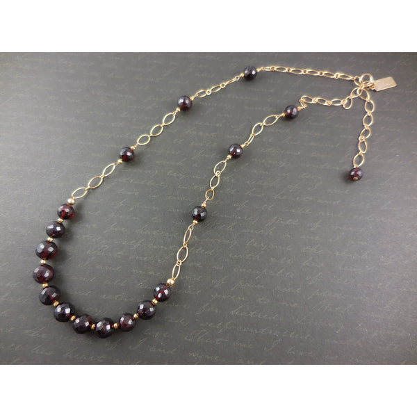 Gold-Filled Garnet Gemstone Necklace
