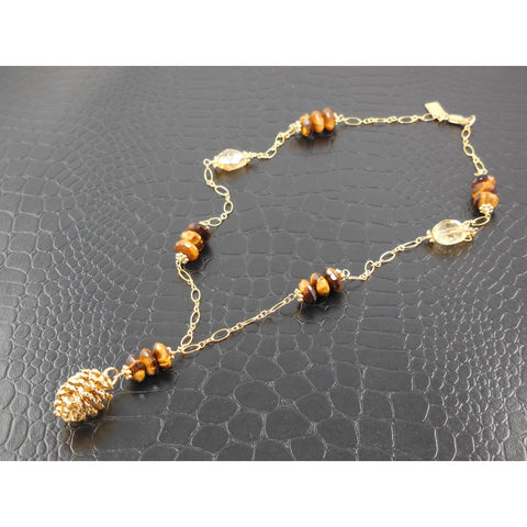 Gold-Filled Tiger's Eye and Citrine Gemstone Pine Cone Necklace