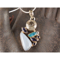 Owyhee opal, White Topaz, Iolite, Apatite Sterling Silver Pendant/Necklace