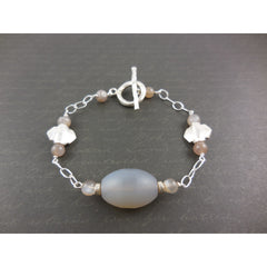 Sterling Silver Agate Chain Toggle Bracelet