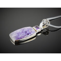 Charoite & Amethyst Sterling Silver Pendant/Necklace