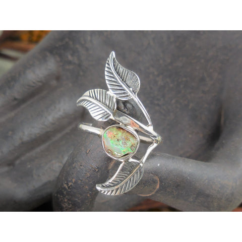 Ethiopian Opal (Rough) Sterling Silver Leaf Ring - Size 6.0