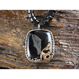 Onyx Gemstone Necklace with Drusy Pendant