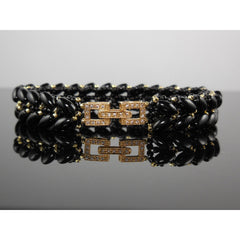 Handwoven Gold Filled Onyx Gemstone 2-Row Bracelet