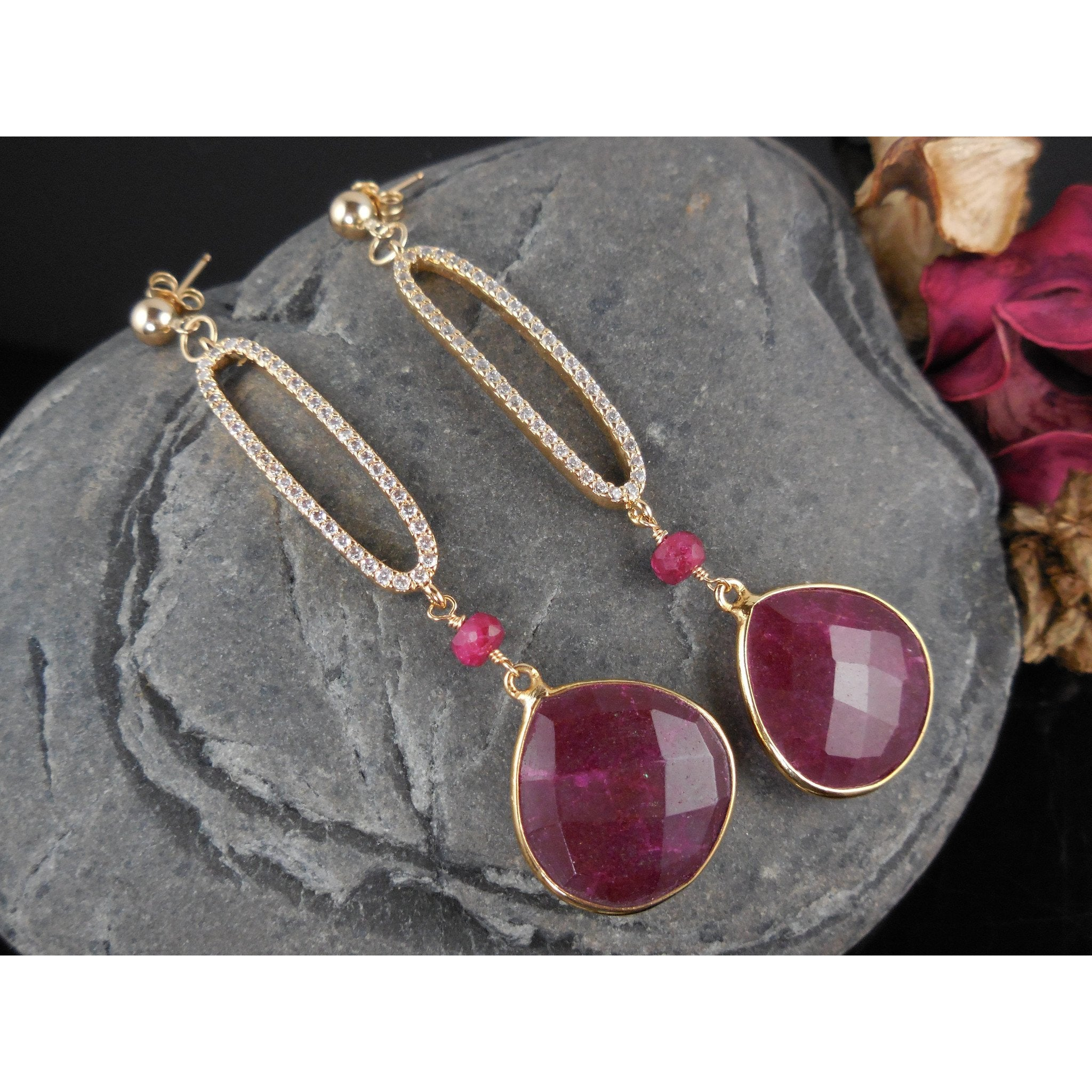 Gold-Filled Ruby Sapphire Briolette Earrings