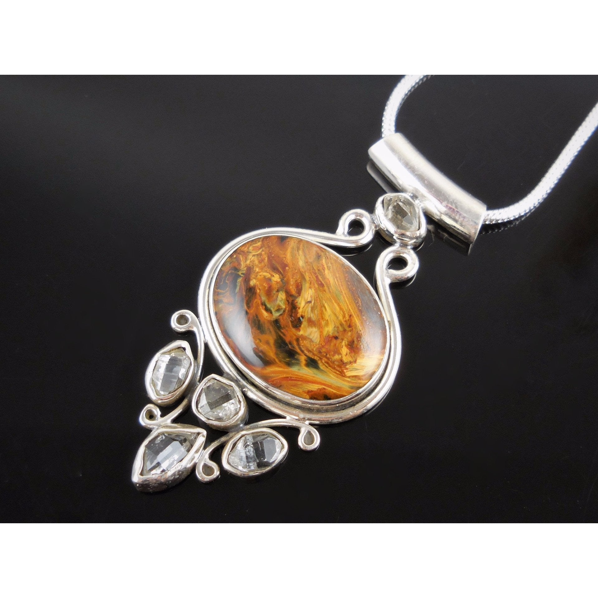 Tiger's Eye & Herkimer Diamond (Quartz) Sterling Silver Pendant/Necklace