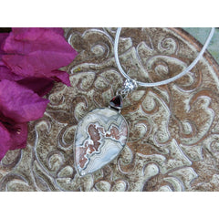Lace Agate & Garnet Sterling Silver Pendant/Necklace