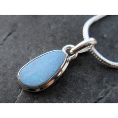 White Fire Opal Sterling Silver Pendant/Necklace