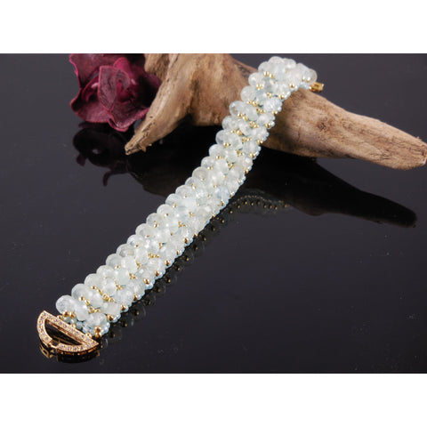 Handwoven Aquamarine Gemstone 3-Row Bracelet