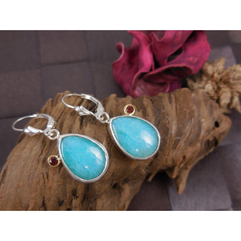 Amazonite & Garnet Sterling Silver Earrings