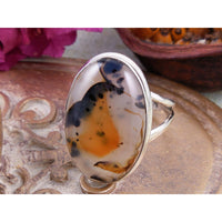 Montana Agate Sterling Silver Ring - Size 7.5