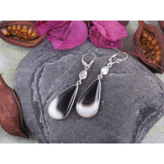 Botswana Agate & Herkimer Diamond (Quartz) Sterling Silver Earrings