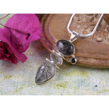 Rutilated Quartz, Herkimer Diamond (Quartz) & Onyx .925 Pendant/Necklace