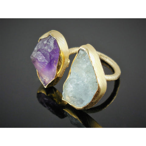 Amethyst & Aquamarine (Rough) .925 Vermeil Ring - Size 5.75