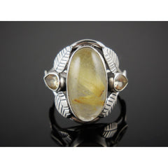 Rutilated Quartz & Citrine Sterling Silver Ring - Size 7.75