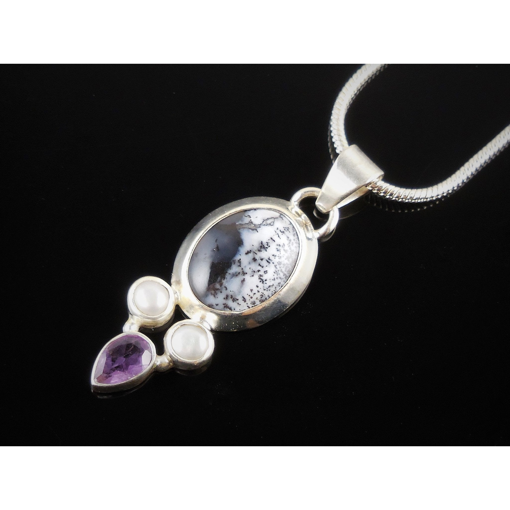 Dendritic Opal, Amethyst, Freshwater Pearl .925 Pendant/Necklace