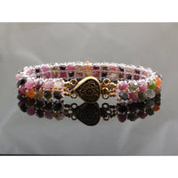 Handwoven Tourmaline Gemstone Bracelet with Vermeil Box Clasp