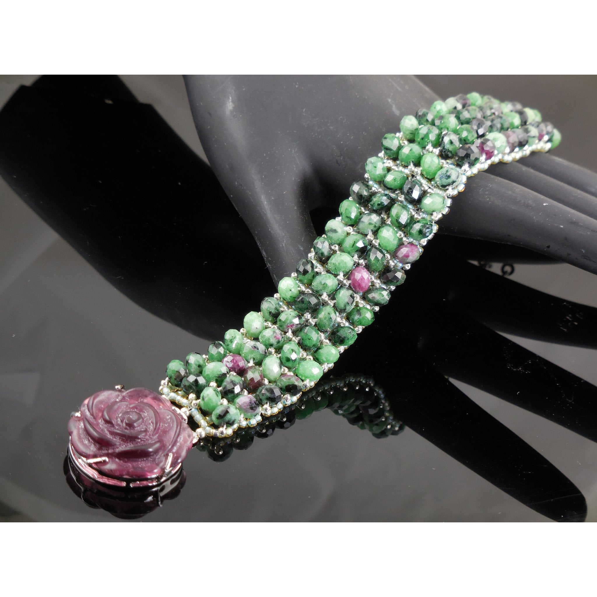 Handwoven Ruby in Zoisite Bracelet with Floral Clasp