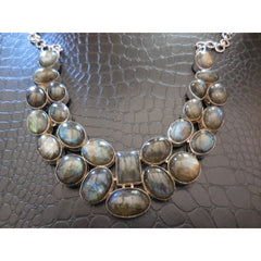 Sterling Silver Labradorite Gemstone Bib Necklace