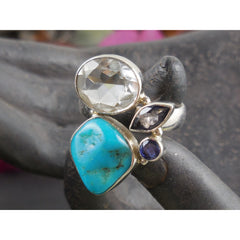 Turquoise, White Topaz, and Iolite Ring - Size 8.5