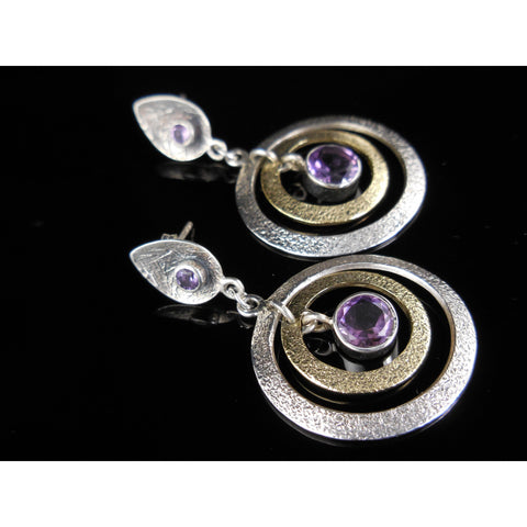 Sterling Silver Amethyst Gemstone Post Earrings