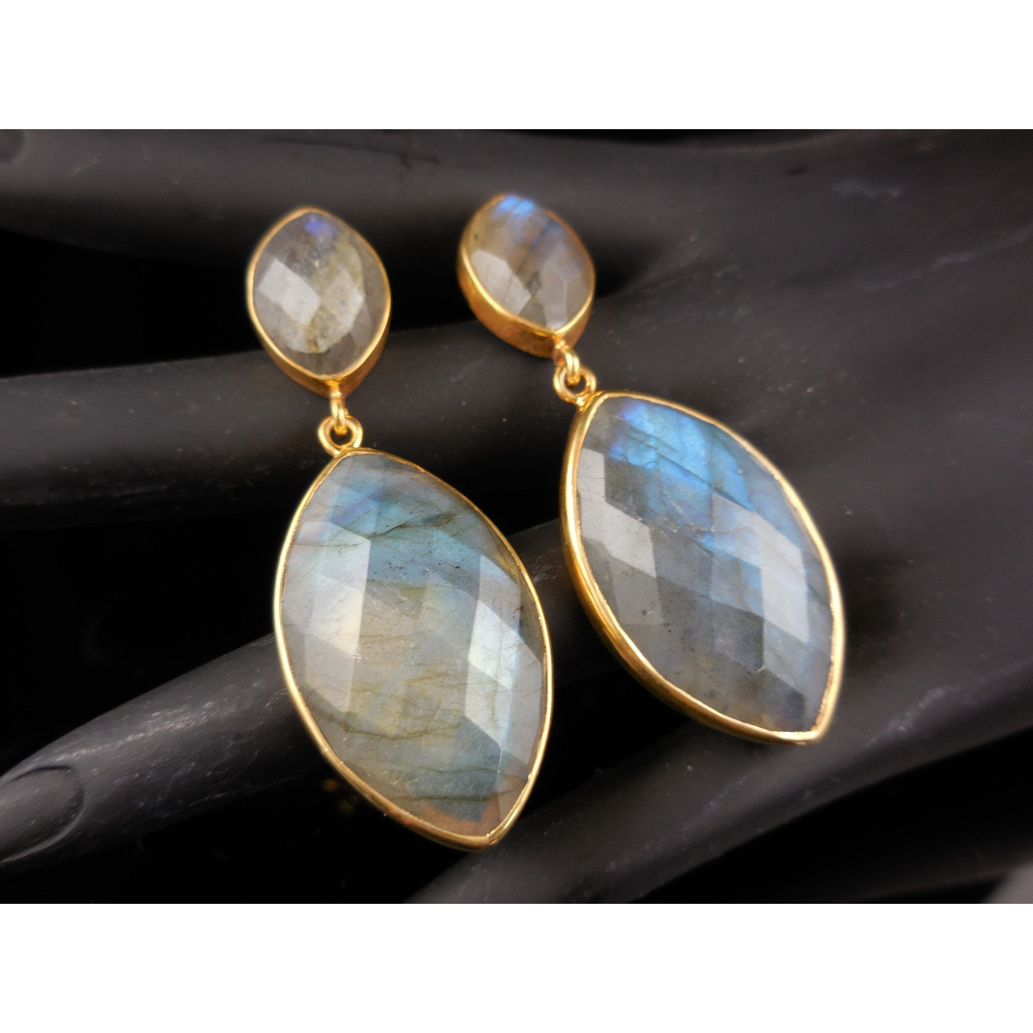 Labradorite Gemstone with Vemeil Drop Post Earrings