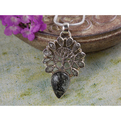 Rutilated Quartz & Herkimer Diamond (Quartz) .925 Tree of Life Pendant/Necklace