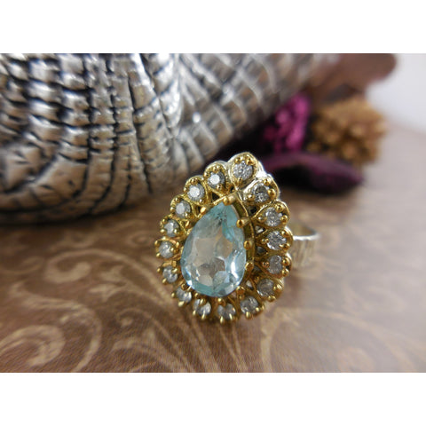 Blue Topaz & CZ Sterling Silver and Brass Ring - Size 6.75