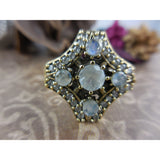 Moonstone and CZ Sterling Silver & Brass Ring - Size 6.75