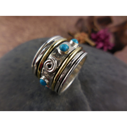Turquoise and Sterling Silver & Brass Spin Ring