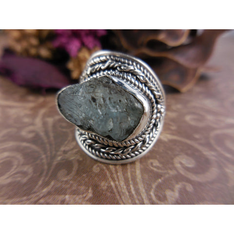 Aquamarine Rough Sterling Silver Ring - Size 6.50