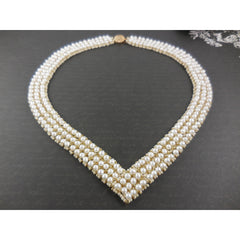 Handwoven Freshwater Pearl Chevron Necklace