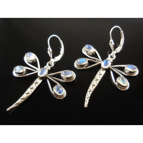 Moonstone Dragonfly Sterling Silver Earrings