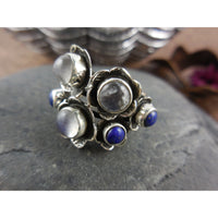 Moonstone & Lapis Gemstone Sterling Silver Ring - Size 6.50
