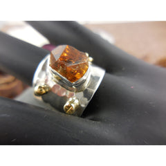 Natural Rough Citrine Gemstone Sterling Silver Ring - Size 9.25