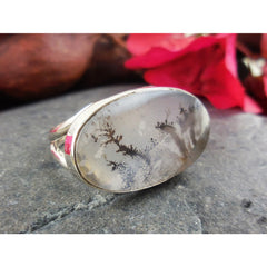 Dendritic Agate Sterling Silver Ring - Size 5.5